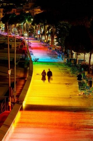"""""""The new lighting plan of the city of Cannes: permanent illumination of the Boulevard de la Croisette, Alpes-Maritimes, France"""" - Hedonism and tradition in Cannes - robertharding.com blog"""