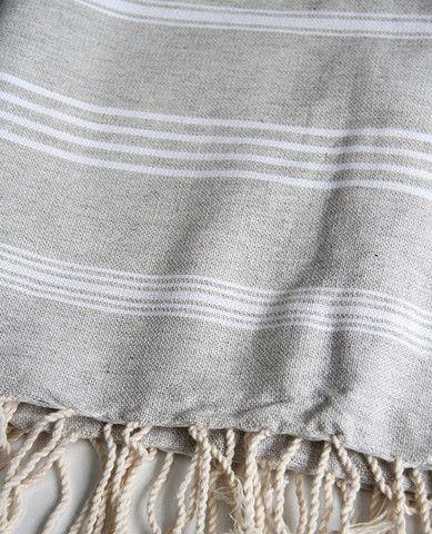 Fouta Grey Stripe Throw