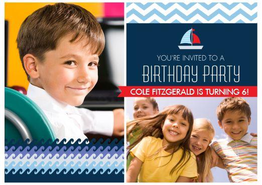 Blue and orange boat theme birthday invitation from Costco