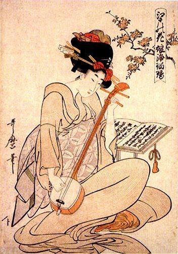Kitagawa Utamaro, Geisha con shamisen