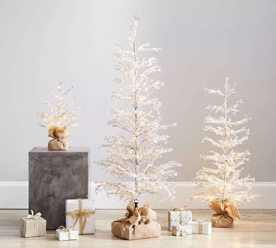 Pre Lit Snowy Crystal Trees Modern Christmas Decor Crystal Tree Traditional Holiday Decor