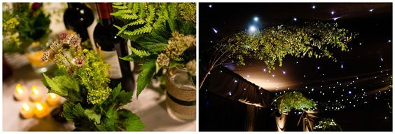 Bringing the outdoors inside at Woodland themed wedding in Lincolnshire by Lucabella.co.uk  Trees, ferns, foraged wild flowers