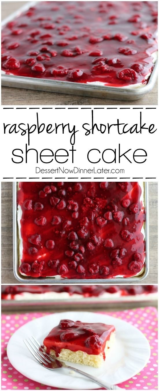 Raspberry Shortcake Sheet Cake Recipe via Dessert Now Dinner Later - This EASY and delicious Raspberry Shortcake Sheet Cake is layered with light, fluffy white cake, topped with whipped cream cheese frosting and a fresh raspberry glaze! Perfect for parties, potlucks, or a Valentine's Day dessert! The Best EASY Sheet Cakes Recipes - Simple and Quick Party Crowds Desserts for Holidays, Special Occasions and Family Celebrations #sheetcakerecipes #sheetcake #sheetcakes #cakerecipes #cakes #dessertforacrowd #partydesserts #christmasdesserts #thanksgivingdesserts #newyearseve #birthdaydesserts
