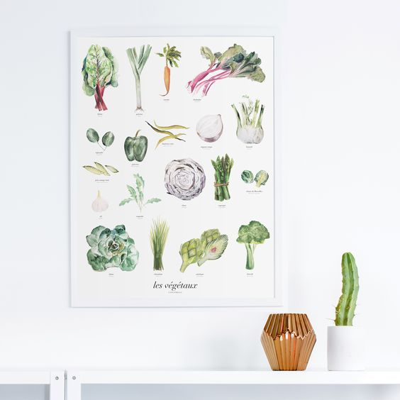 Les Végétaux | Vegetables Art Print - By Lyra Press, a design and illustration studio specializing in handmade infographics:
