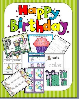 FREE  Birthday unit that has cute activities for letter match, word recognition, matching, scissor skills, number cards and a boatload of games!                                                                   Did I mention that this is FREE  and has 70 pages? Check it out