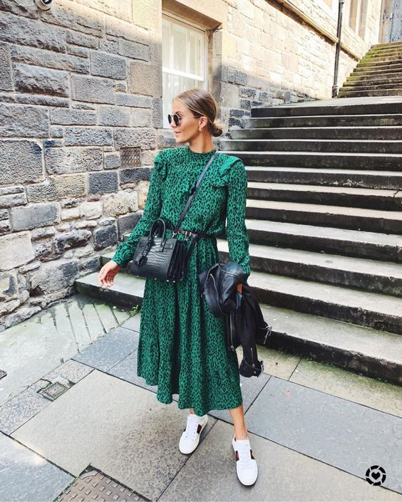 dress, midi dress, green dress, leopard print, long sleeve dress, white sneakers, black bag, black leather jacket, maxi dress - Wheretoget