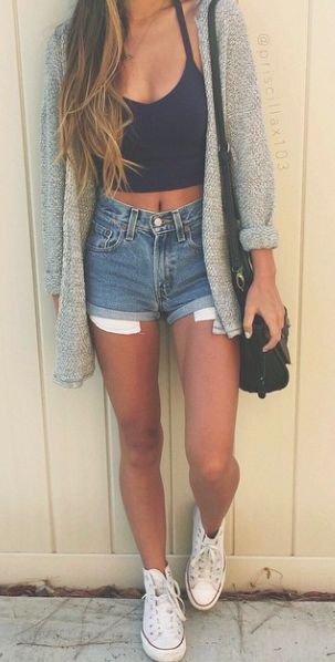 knit gray cardigan + denim shorts + white converse chucks + black ...