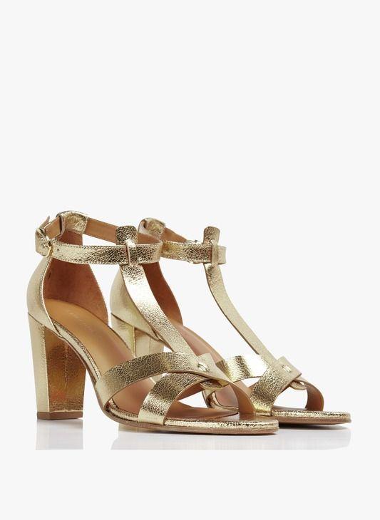 Sandales hautes en cuir effet craquelé Doré by RIVECOUR