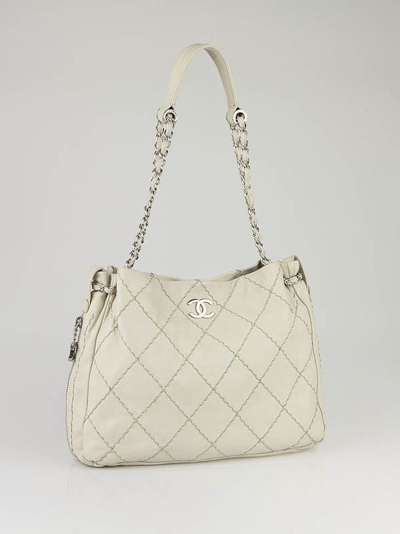 Chanel White Stitched Leather Expandable Tote Bag