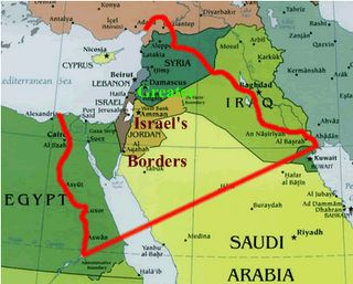 """Map of ALL the land promised to Abraham and his descendants......the Promised Land. Gen 15:18 - On that day the LORD made a covenant with Abram, saying, """"To your offspring I give this land, from the river of Egypt to the great river, the river Euphrates, 19 - the land of the Kenites, the Kenizzites, the Kadmonites, 20 - the Hittites, the Perizzites, the Rephaim, 21 - the Amorites, the Canaanites, the Girgashites and the Jebusites."""""""