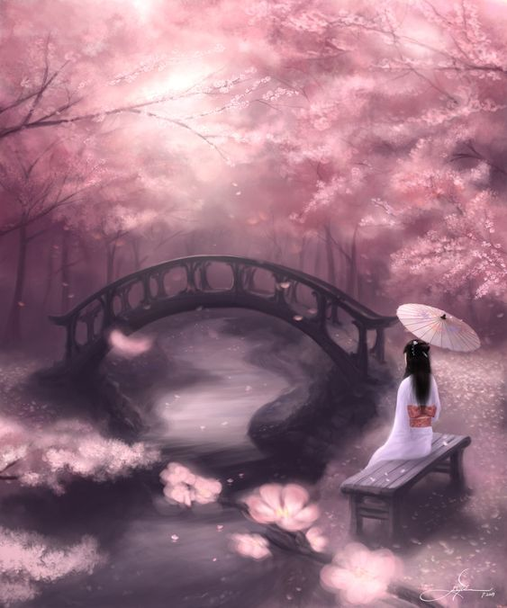 ... art de fleur de cerisier art plaque murale princesses beautiful Japanese Cherry Blossom Landscape Painting