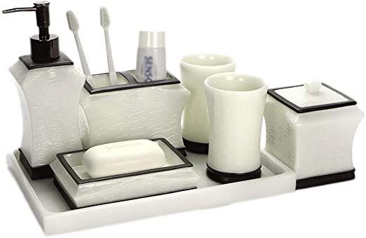 Hniwdj 5 Piece Resin Bathroom Accessory Kit European Style Mouthwash Cup Set Bathroom Supplies To Bathroom Accessory Set Bathroom Accessories Resin Countertops