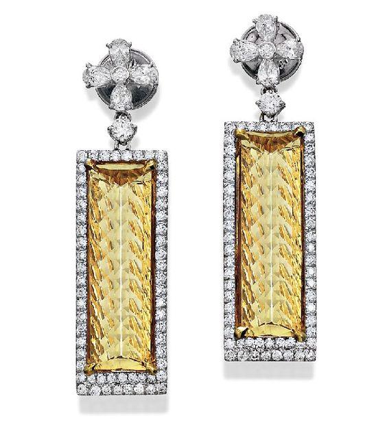 PAIR OF BERYL AND DIAMOND EARRINGS-stone cut www.sothebysaustralia.com