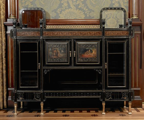 Herter Brothers (American, 1864–1906). Ebonized cabinet, c. 1875.  Photo by John Faier,  © The Richard H. Driehaus Museum.