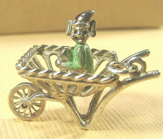 Sterling Silver 3d wheelbarrow charm