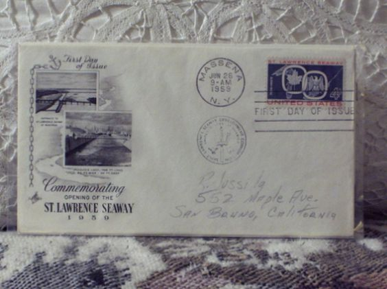 http://ajunkeeshoppe.blogspot.com/  First Day Issue / Cover - Stamp - Saint Lawrence Seaway 1959 4c 8ozP725B4HP1211