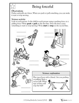 Printables Force Worksheets first grade science and search on pinterest pushing pulling are forces that can start stop motion in this worksheet your child identifies whether the being ex