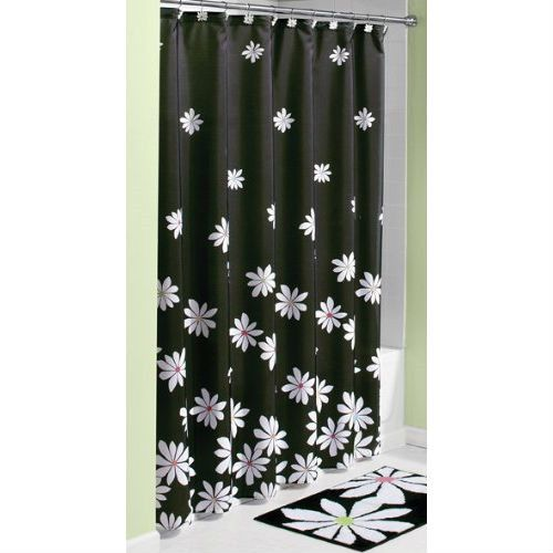 Curtains Ideas black shower curtain with white flower : Black White Flower Fabric Shower Curtain - Machine Wash | Products ...