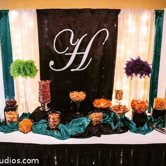 """Snazzy snack bar in the hallway designed by Walnut Street Weddings. Bring in your own decorator, choose from your preferred list, or DIY. Call us for more…"""