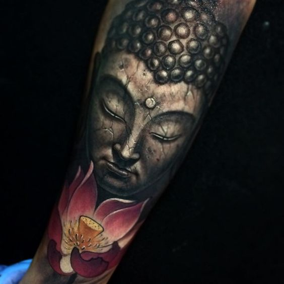 Another great hyper realistic Buddha portrait design with amazing details on cracks. It could denote how you have lived through scars to reach a new awakening and purity in life but you remain unfazed.