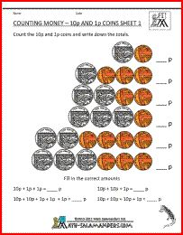 counting money 1p and 10p with uk coins 1st grade math worksheets pinterest coins money. Black Bedroom Furniture Sets. Home Design Ideas