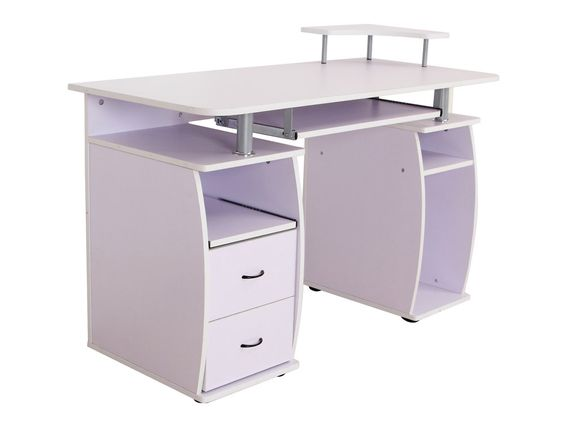 Bureau Informatique Multimedia En Mdf Blanc Computer Desk With Shelves Modern Home Office Desk Classic Office Furniture