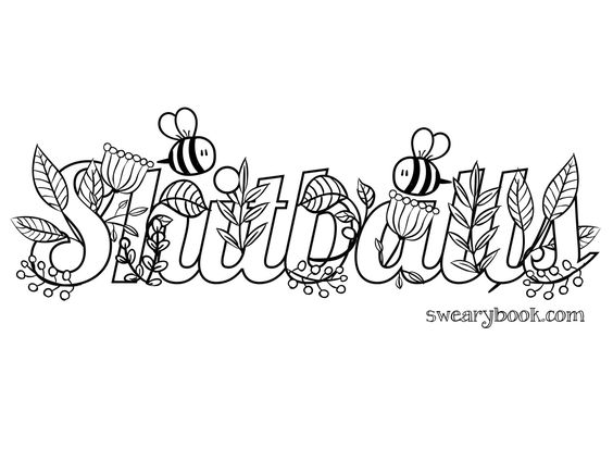 Shitballs - Swear Words Coloring Page from the Sweary Coloring Book ...