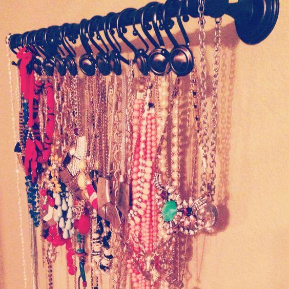 25 clever diy ways to keep your jewelry organized shower curtains diy jewelry and diy jewelry - Clever diy ways keep jewelry organized ...