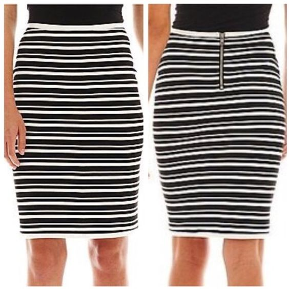 """✳️SALE✳️ Striped pencil skirt by I ❤️ Ronson Black and white striped pencil skirt. **Only skirt is for sale. Approx 22"""" long, 29"""" waist but very stretchy (can extend about two more inches). Exposed silver zipper. Polyester/rayon/spandex knit with stretch in the material. Never worn. Charlotte Ronson Skirts Pencil"""