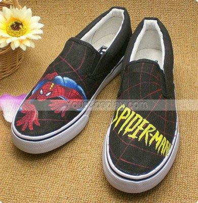 Low SpiderMan Black 2 Hand Painted Canvas Women Shoes, Spiderman Shoes, Cosplay Hand Drawing Shoes
