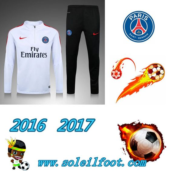 League 1: Survetement De Foot Saint Germain Paris Enfant Blanc saison 16 17…