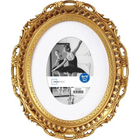 mainstays 8x10 matted to 5x7 oval picture frame gold walmartcom