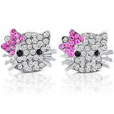 Stud Earrings Sets for Little or Young Girls - Silver with Clear and Pink Rhinestone in a Pretty Gift Box