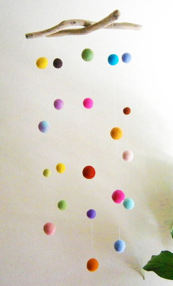 driftwood and felt balls mobile -- colorful baby nursery mobile
