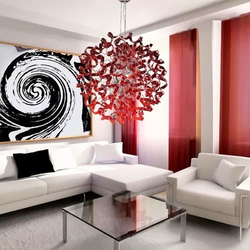 Astre lustre design rouge chrome decodesign   Décoration maison - deco salon rouge blanc noir