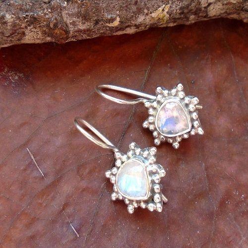 Mondstein, Blüte, Ohrringe, Ohrhänger, 925 Sterling Silber in Uhren & Schmuck, Echtschmuck, Ohrschmuck | eBay!
