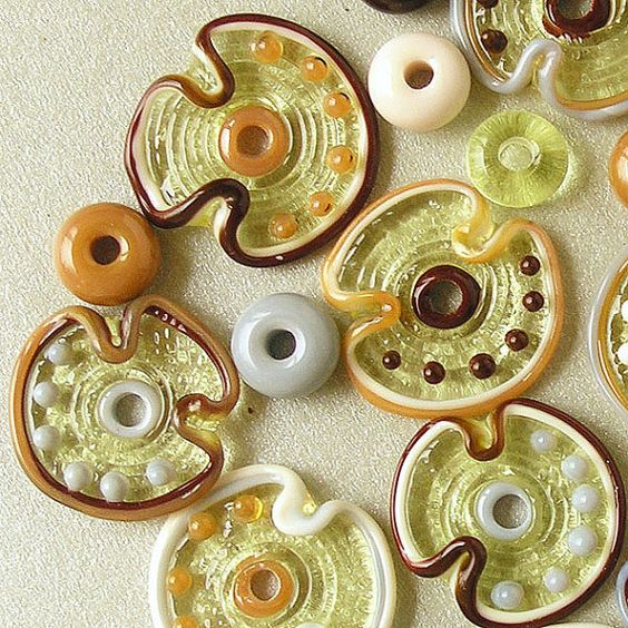 Lampwork Glass Disc Flower Beads, FREE SHIPPING, Set of Handmade Glass Beads in Bright Colors - Rachelcartglass