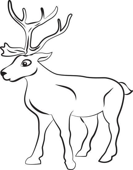 Printable Reindeer Coloring Page For Kids Animal Coloring Pages Animal Templates Deer Coloring Pages
