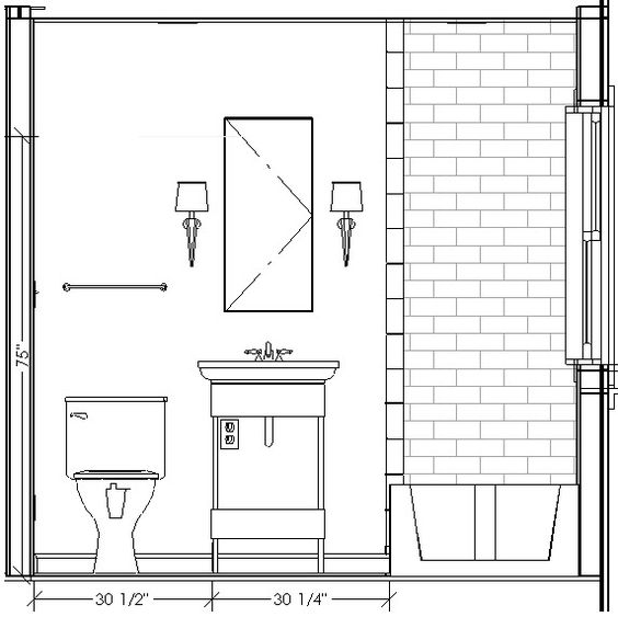 Bathroom Elevation Drawings This Is The Same Layout As Mine I