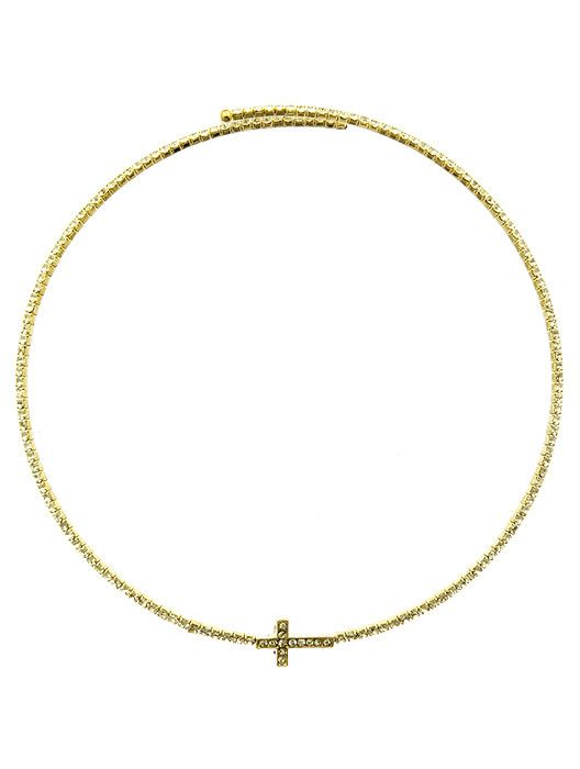 Necklace Cross Choker Pave Crystal Stone 10 Inch Long 1/4 Inch Drop