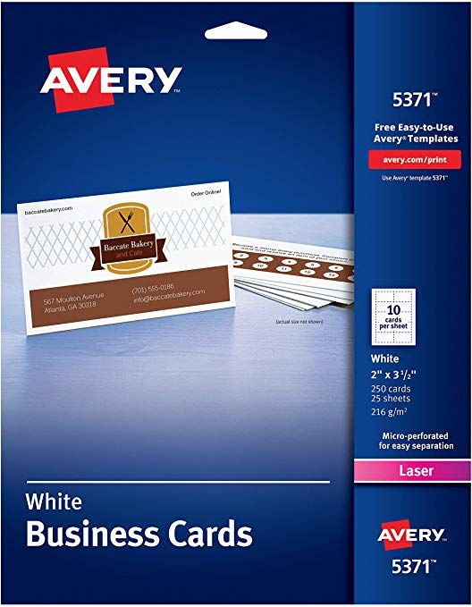 Avery Uncoated Business Cards For Laser Printers 250 Cards Per Pack Case Pack Of 5 5 Printable Business Cards Uncoated Business Cards Business Card Template