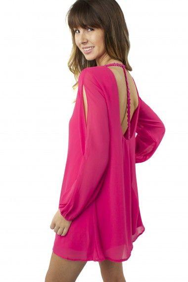 Femme Crochet Fuchsia Dress $34.99 #sophieandtrey #dresses #crochet #opensleeve #fuchsia