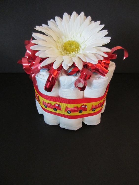 Fire truck diaper cake centerpiece baby by mjmbabyboutique