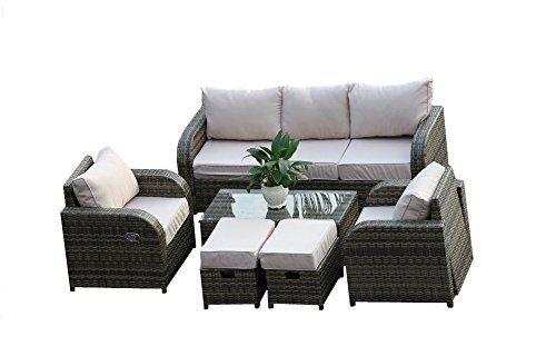 Yakoe Rattan Garden Furniture Sofa Set Plus Reclining Chairs Rattan Garden Furniture Furniture Sofa Set