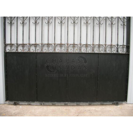 Antiguo port n de garaje corredizo de hierro forjado for Portones de garaje