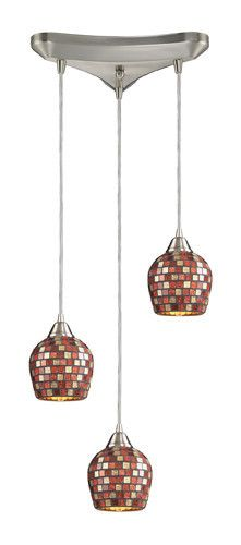 ELK Lighting 528-3Mlt Three Light Pendant In Satin Nickel And Multi Mosaic Glass