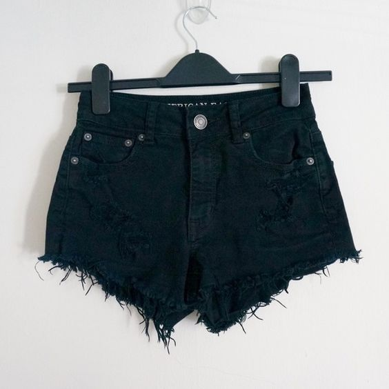 American Eagle Distressed High Waisted Shorts black denim, really stylish and edgy American Eagle Outfitters Shorts Jean Shorts