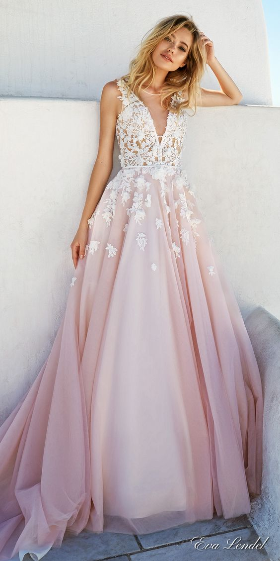 eva lendel 2017 bridal sleeves deep v neck heavily embellished bodice romantic pretty pink color a  line wedding dress keyhole back royal train (britany) mv: