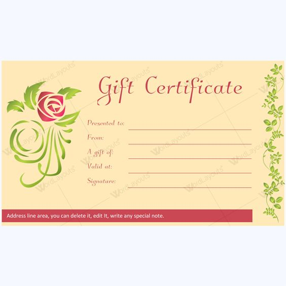Simple but beautiful Spa gift certificate for Word #spagift - gift certificate word template