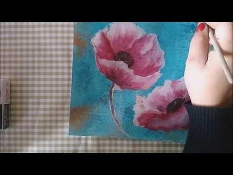 Como Pintar Flores Con Acrilico Paso A Paso Tutorial Youtube Como Pintar Flores Flores Pintadas Como Pintar